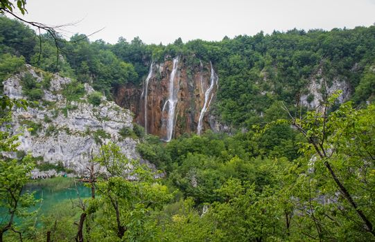 A large waterfall at Plitvice Lakes, UNESCO World Heritage Site, Croatia