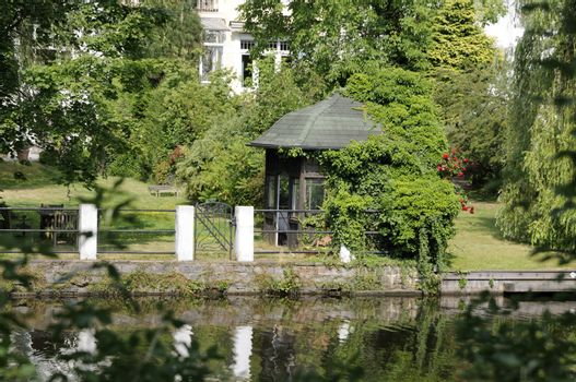 Waterside property at the Alster in Hamburg, Germany.