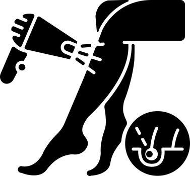 Laser hair removal black glyph icon