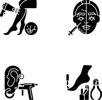Beauty procedures black glyph icons set on white space