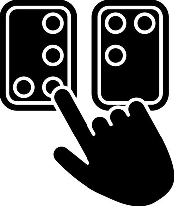 Braille directions black glyph icon