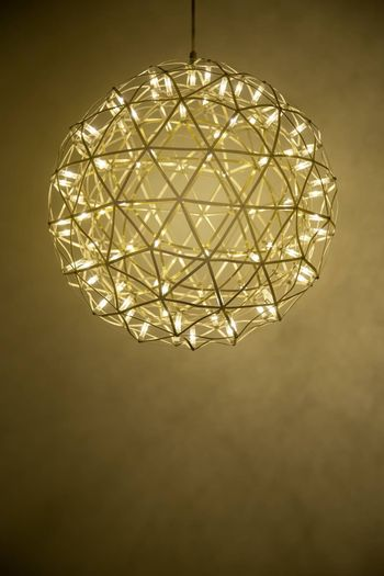 Close up of chandelier modern shape circle