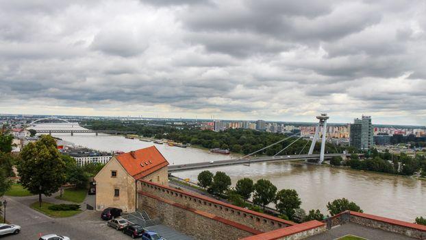 A view across the River Danube, Most SNP Bridge, and Ovsiste from Bratislava Castle, Bratislava, Slovakia