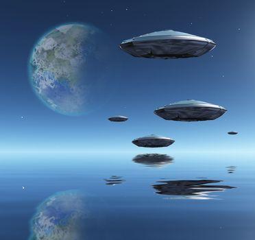 Flying saucers flies above ocean on water planet. Terraformed moon in the sky. 3D rendering