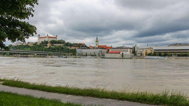 A view across the River Danube of Bratislava and Castle, from Bratislavská Promenáda pri Dunaji, Slovakia