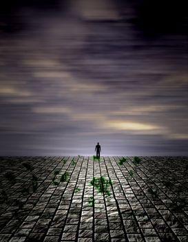 Lonely figure in unreal landscape. 3D rendering
