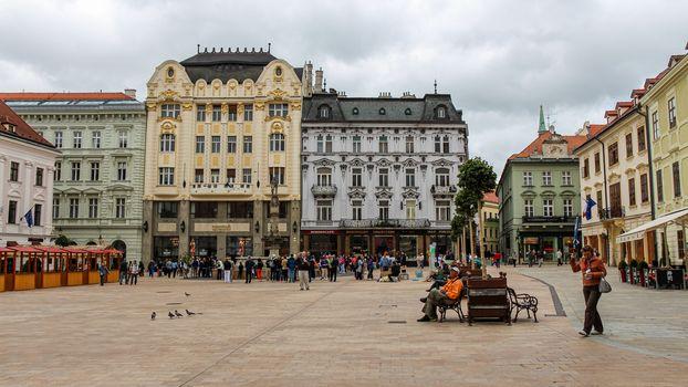 Bratislava, Slovakia - July 5th 2020: The Main Square in Bratislava next to Maximilin's fountain, old town, Slovakia
