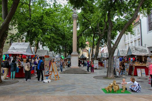 Bratislava, Slovakia - July 5th 2020: Marian Column on Franciscan Square, old town, Bratislava, Slovakia