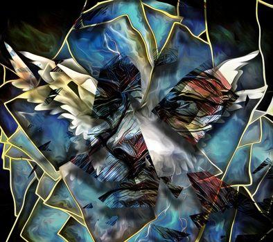 Surrealism. Angel's wings. Man's face in glasses. 3D rendering