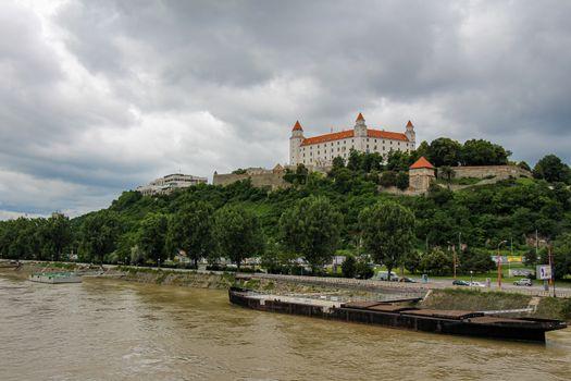 Bratislava, Slovakia - July 5th 2020: Bratislava Castle over looking the River Danube in the old town, Slovakia