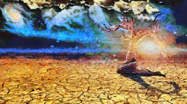 Surreal painting. Old dry tree in arid land. The sun is rising. 3D rendering