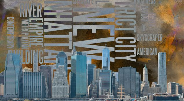 NYC Landscape. Modern urban art. 3D rendering