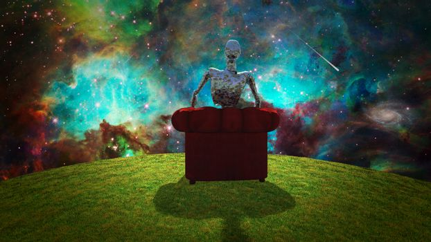 Surreal composition. Rusted alien sits in red armchair and observer vivid universe. 3D rendering