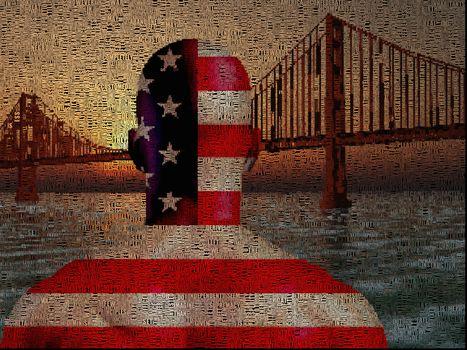 Man in US national colors stands before Golden Gate bridge. 3D rendering