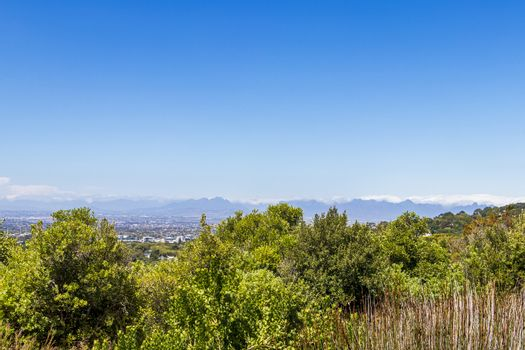 Panoramic view of Cape Town from the Kirstenbosch National Botanical Garden in South Africa.