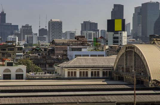 Roof of Hua Lamphong Station And the sky background of Bangkok. Selective focus.