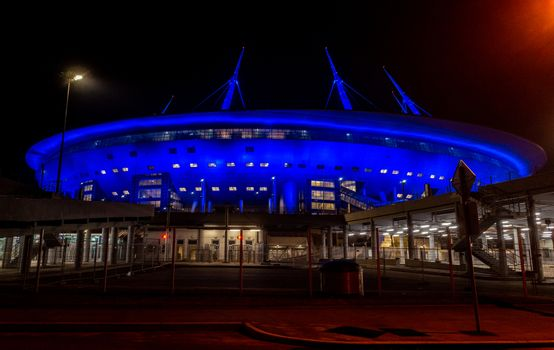 April 18, 2018. St. Petersburg, Russia. Stadium St. Petersburg arena (Gazprom arena), which will host the matches of the European football Championship in 2020 and the final of the Champions League in 2021