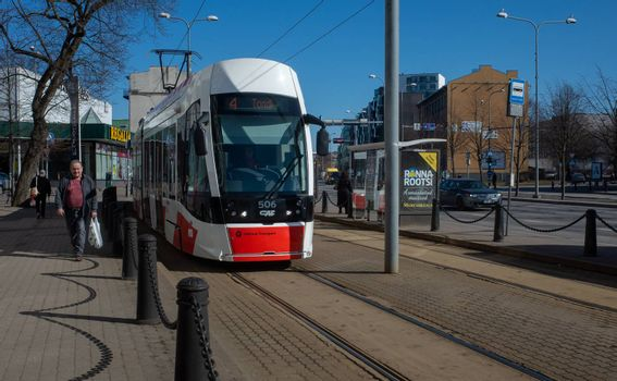 19 April 2019 Tallinn, Estonia. Low-floor tram on one of the streets of the city.