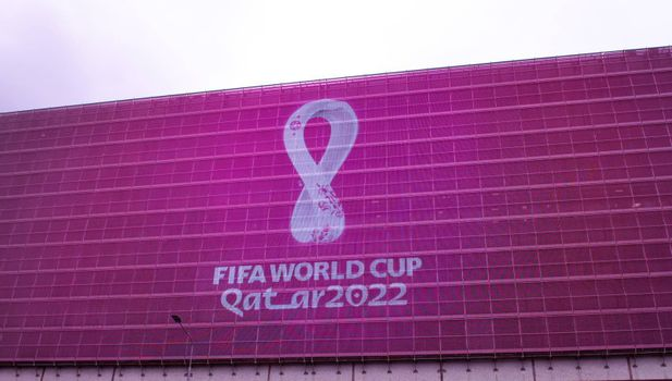 4 September 2019, Moscow, Russia. The logo of the FIFA world Cup 2022, which will be held in Qatar, on a giant screen in the city center.