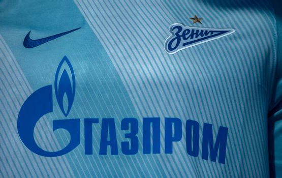 April 18, 2018. St. Petersburg, Russia. Form of football club Zenit in the window of the team store.