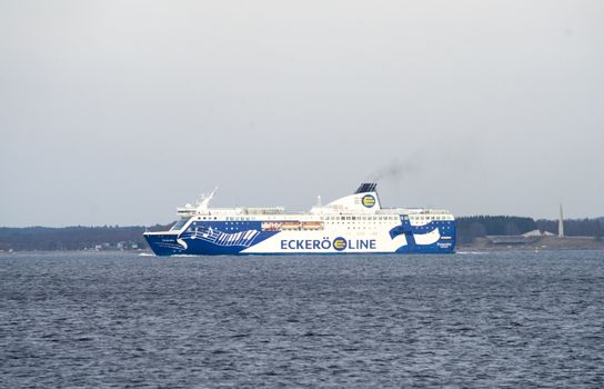 20 April 2019, Tallinn, Estonia. High-speed passenger and car ferry of the Finnish shipping concern Eckerö Line Finlandia in the port of Tallinn.
