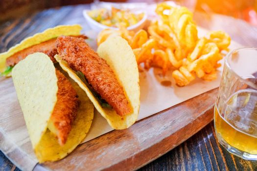 crispy chicken wrap with french fries