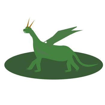 Fairytale green Dragon Flat Isolated Childish Style Simple Vector Drawing In Bright Colors On White Background.