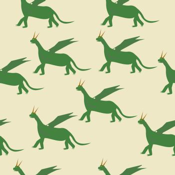 seamless pattern Fairytale green Dragon Flat Isolated Childish Style Simple Vector Drawing In Bright Colors On White Background.