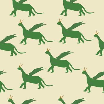 seamless pattern Fairytale green Dragon Flat Isolated Childish Style Simple Drawing In Bright Colors On White Background.