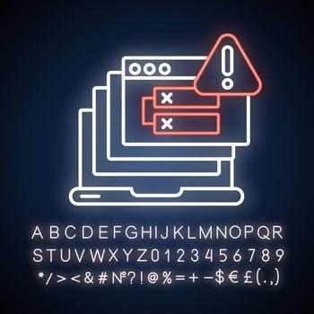 Internal server error neon light icon