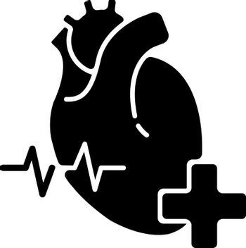 Cardiology department black glyph icon