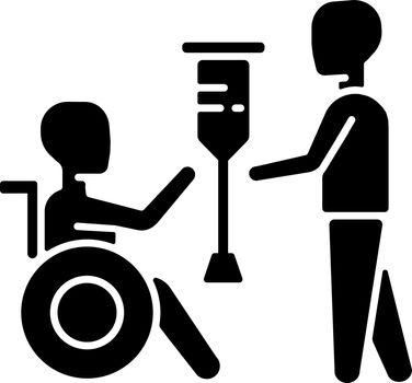 Rehabilitation services black glyph icon