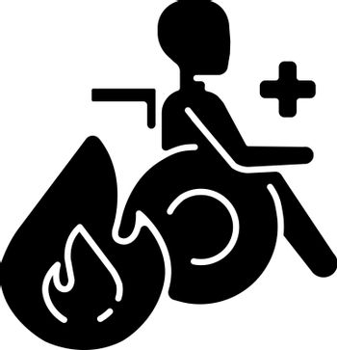 Burn center black glyph icon