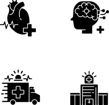 Urgent health care black glyph icons set on white space
