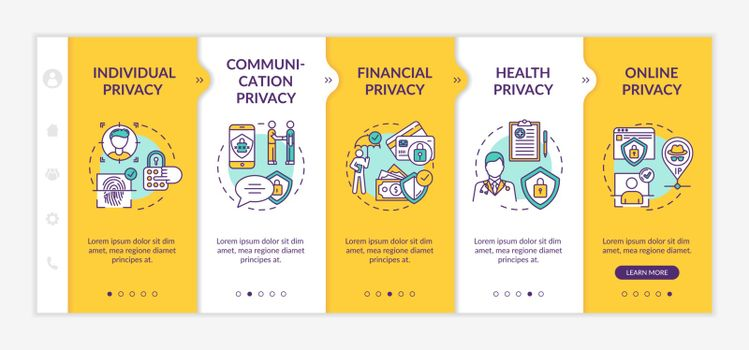 Privacy types onboarding vector template