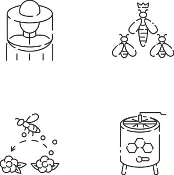 Beekeeping business linear icons set