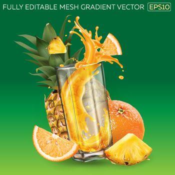 Pineapple, orange and splashing juice in a glass.