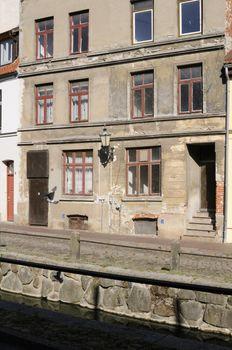 Run-down building in Wismar, Germany.