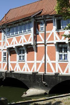 Half-timbered house called Gewoelbe, Wismar, Germany.