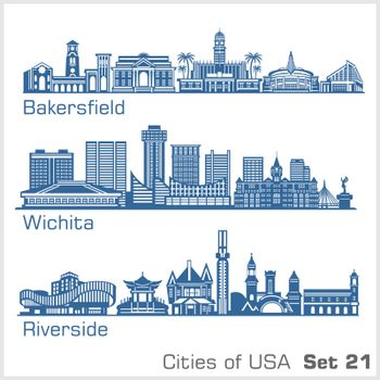 Cities of USA - Bakersfield, Wichita, Riverside. Detailed architecture. Trendy vector illustration.