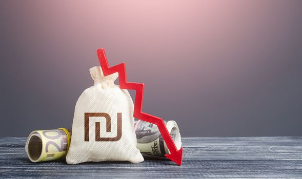 Israeli shekel money bag and red down arrow. Economic difficulties fall. Capital flow, high risks. Crisis, loss money savings. Stagnation, recession, declining business activity, falling wealth.