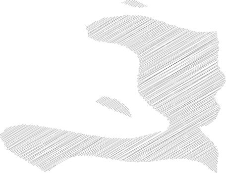 Haiti - pencil scribble sketch silhouette map of country area with dropped shadow. Simple flat vector illustration