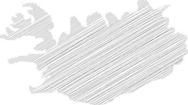 Iceland - pencil scribble sketch silhouette map of country area with dropped shadow. Simple flat vector illustration