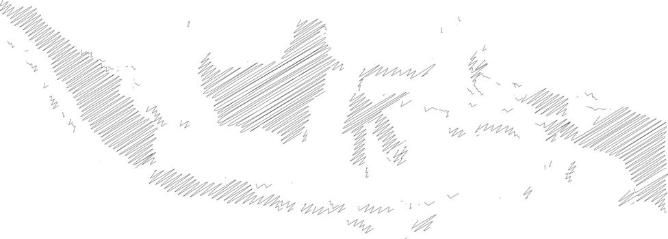 Indonesia - pencil scribble sketch silhouette map of country area with dropped shadow. Simple flat vector illustration