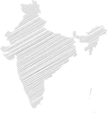 India - pencil scribble sketch silhouette map of country area with dropped shadow. Simple flat vector illustration