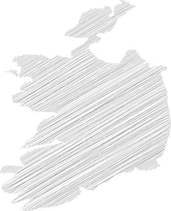 Ireland - pencil scribble sketch silhouette map of country area with dropped shadow. Simple flat vector illustration
