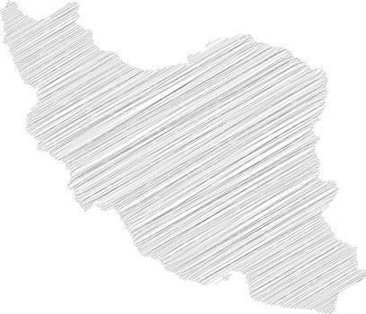 Iran - pencil scribble sketch silhouette map of country area with dropped shadow. Simple flat vector illustration