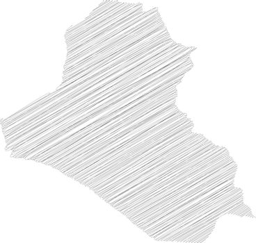 Iraq - pencil scribble sketch silhouette map of country area with dropped shadow. Simple flat vector illustration