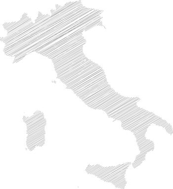 Italy - pencil scribble sketch silhouette map of country area with dropped shadow. Simple flat vector illustration