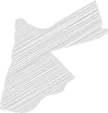 Jordan - pencil scribble sketch silhouette map of country area with dropped shadow. Simple flat vector illustration